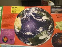 A children's book about planets opened to a page about the earth, which is pictured as a mirrored image. An obvious mistake from the book's publisher.